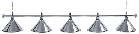 Светильник бильярдный для стола 11-12 футов «SILVER» (5 ПЛАФОНОВ)