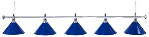 Светильник бильярдный для стола 11-12 футов «SILVER BLUE» (5 ПЛАФОНОВ)