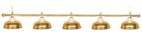 Светильник бильярдный для стола 11-12 футов «CROWN GOLD» (5 ПЛАФОНОВ)