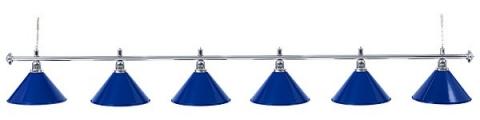 Светильник бильярдный для стола 12 футов «SILVER BLUE» (6 ПЛАФОНОВ)