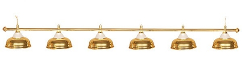 Светильник бильярдный для стола 12 футов «CROWN GOLD» (6 ПЛАФОНОВ)