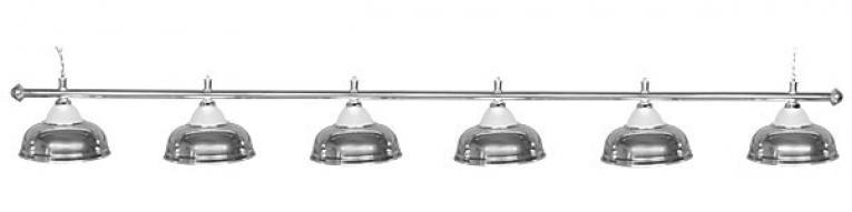 Светильник бильярдный для стола 12 футов «CROWN SILVER» (6 ПЛАФОНОВ)