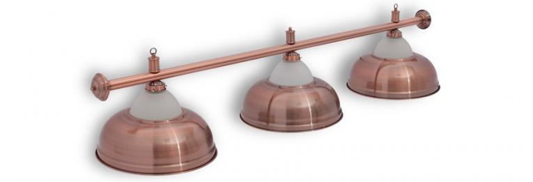 """Бильярдный светильник для стола 8 футов """"Crown Red Bronze"""" 3 плафона"""