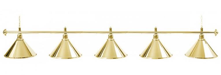 Светильник бильярдный для стола 11-12 футов «GOLDEN» (5 ПЛАФОНОВ)