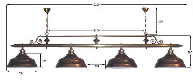 """Бильярдный светильник для стола 10-11 футов """"Ромикс"""" 4 плафона"""